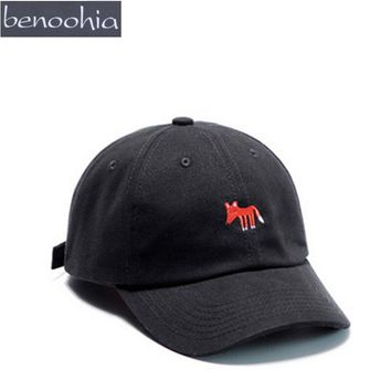 BBS091 Animal Fox Embroidery Curved Baseball Cap Hot Man And Women Casual Adjustable Sport Snapback Hats Casquette Gorras