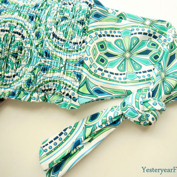 Bandeau top / swimwear / tube top in kaleidoscope pattern, new, Massimo, blue and green top, padded stretch bandeau top, summer top, blue.