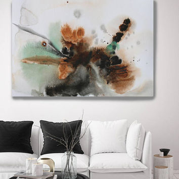 "Watercolor Coastal Abstract 97. Contemporary Abstract Green Brown Orange Black Canvas Art Print up to 72"" by Irena Orlov"