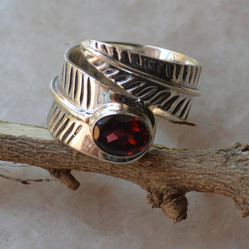 Red Garnet Ring,Sterling Silver 925 Handmade Everyday Gift Boho Ring Bohemian Ring,Birthstone Ring,January Birthday Gift Hippie gypsy Rings