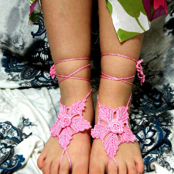 Crochet barefoot sandals,leaf pattern,baded heart sandals, foot decoration shoes wedding lace sexy yoga anklet beach pool,