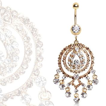 Gold Plated Navel Ring with Round Chandelier