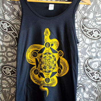 Golden Snake Mandala - Bamboo Men's Tank Top