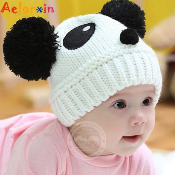 Warm Toddlers Baby Kids Cartoon Panda Ball Knited Crochet Beanie Cap Winter Hat Child Panda Wool Cap for 1 To 4 Years Old Baby