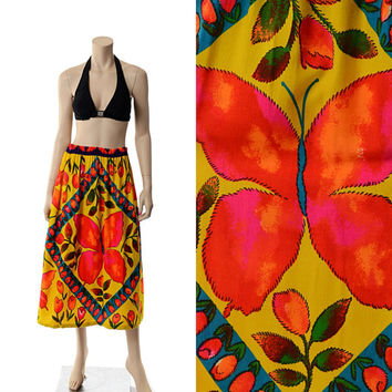 Vintage 60s 70s Groovy Butterfly Hippie Skirt 1960s 1970s Mad Men Mod Floral Novelty Carnaby Street Flower Power Twiggy Boho Skirt Medium