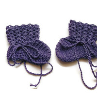 "Special Birthday Sale Baby Booties Purple Baby Shoes Crochet Booties 3 and half "" Newborn Shoes OOAK Booties Reborn Baby Doll"
