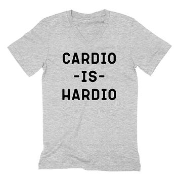 Cardio is Hardio, Workout funny saying, cardio and coffee, funny graphic  V Neck T Shirt