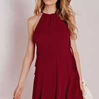 Burgundy Side Strap Tie Sleeveless Dress B005576