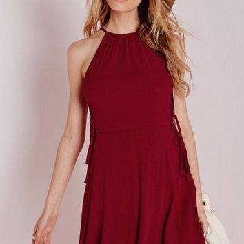 Burgundy Side Strap Tie Sleeveless Mini Dress