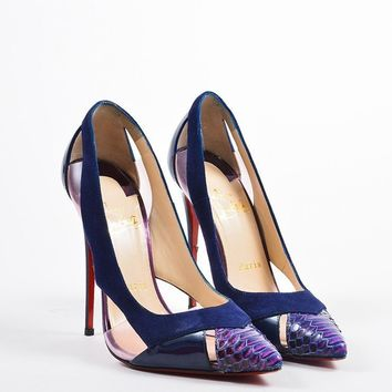 DCCK2 Navy Christian Louboutin Suede, Patent, PVC, and Python Toe Galata Pumps