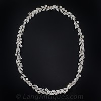 Edwardian Platinum and Diamond Laurel Leaf Necklace - Edwardian Jewelry - Shop for Jewelry
