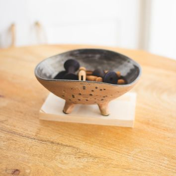 Brown And Black Ceramic Bowl With Legs