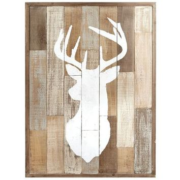 Wood Patchwork Deer Wall Decor