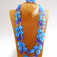 ALICE CAVINESS Blue Beaded Necklace Earrings Set Glass & Lucite Blue Purple Double Strand Vintage