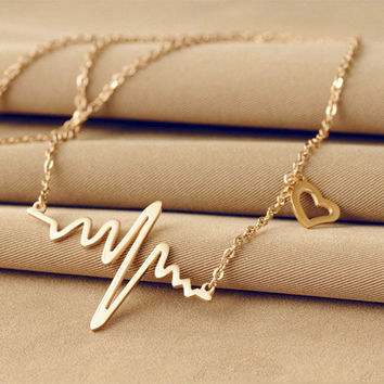 Wave Heart Necklace Charm Pendant Necklace Heartbeat Necklace Silver Gold Jewelry