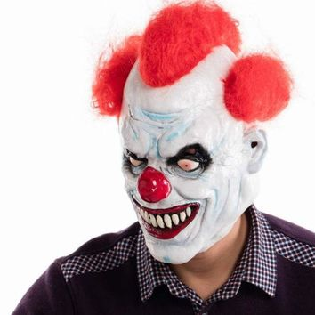 DKF4S Ashanglife Evil Circus Clown Mask Pennywise Halloween Horror Party Fancy Dress Costume Accessory
