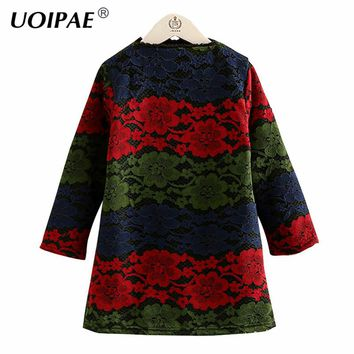 Kids Dress Girls 2018 New Winter Fashion Colorful Lace Dress For Girl Kids Long Sleeve Plus Velvet Thick Baby Girl Clothes 4541W