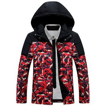 Winter Warm Down Jacket Men Patchwork Camouflage New Clothing Jackets and Coats Thick White Duck Down Coat Mens Parka Overcoats