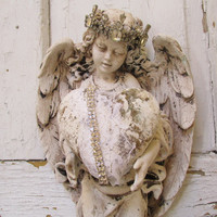 Angel statue wall hanging with heart shabby cottage heavily distressed ivory painted cherub ornate crown home decor anita spero design