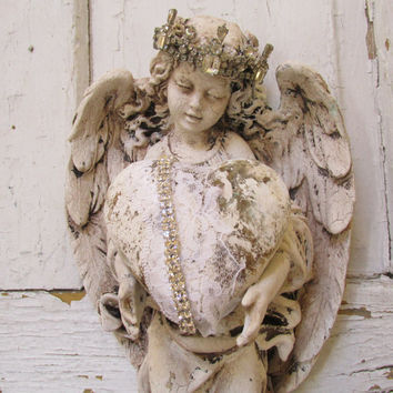 Angel Statue Wall Hanging With Heart Shabby Cottage Heavily Dist. Anita  Spero Design