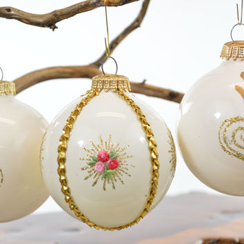 Kugelgruss Glass Christmas Ornaments White Jeweled & Embellished West Germany