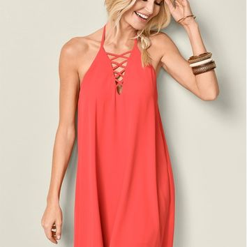 Cross Front Mini Dress in Coral | VENUS