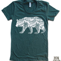 Womens California BEAR T-Shirt american apparel S M L XL (17 Colors Available)