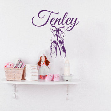 Ballerina Wall Decals For Girl Name Personalized Decal Ballet Slipper Shoes Dancing Dance Decor Nursery Bedroom Wall Stickers T169