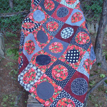 Black White and Red Poppy Modern Quilt