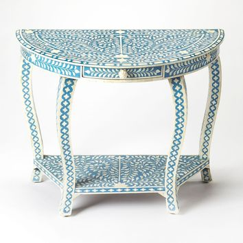 Darrieux Traditional Bone Inlay Demilune Console Table Blue