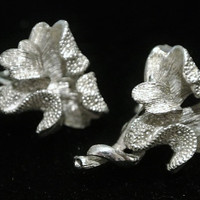 Coro Earrings Pegasus Textured Iris Clip On Earrings Rhodium Designer Signed Jewelry Floral Flowers Circa 1950s Wedding Party Evening Event