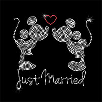 Mickey & Minnie Just Married Disney Rhinestone Iron On Transfer - DIY Rhinestone Heat Transfer