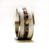 Camo ring with Antler and Titanium Ring