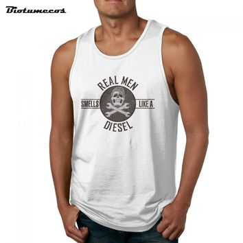 """Men Tank Tops Fashion Brand Sleeveless T shirts Skull and write the letters""""real men"""" Image Printed Casual Summer"""
