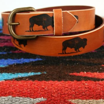 *Customizable* Leather Belt with Bison image