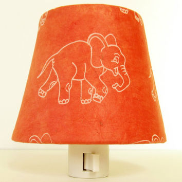 Orange Elephant Nursery Decor - Gender Neutral Nursery Night Light -  Baby Nightlight - Elephant Night Light - Decorative Night Lights