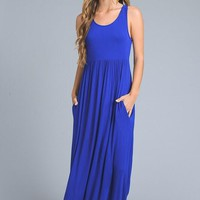 Racerback Maxi Dress  - Royal