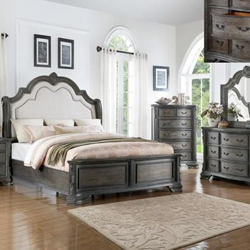 5 pc Sheffield collection antique grey finish wood padded headboard bedroom set