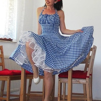 Pinup dress 'Lollipop dress in blue and white gingham' full circle skirt gathered bust rockabilly dress, gingham dress 50s, very rockabilly