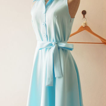 DOWNTOWN - Baby Blue Shirt Dress, Summer Dress, Blue Bridesmaid Dress, Midi Dress, 1950 Inspired Dress, Vintage Inspired Dress, XS-XL,Custom