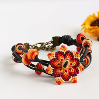 Macramè mandala flower bracelet with beads boho hippie red orange