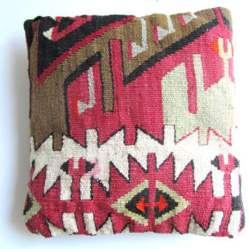 Vintage Kilim Pillow in red and brown hues