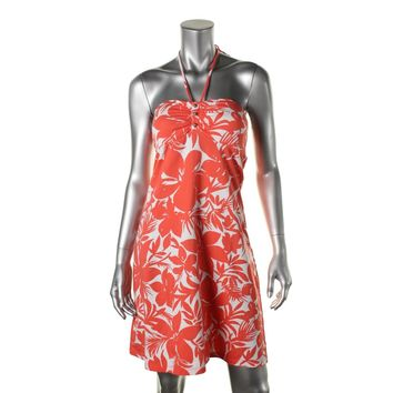 Tommy Bahama Womens Halter Floral Print Casual Dress