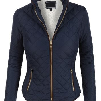LE3NO Womens Lightweight Quilted Puffer Zip Up Jacket with Pockets