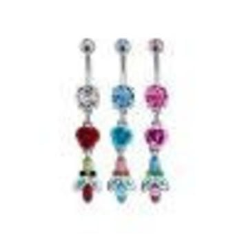 Rose Belly Ring with Multicolor Leaf Dangle-aqua (Bnafl18aq), Each Sold Individually
