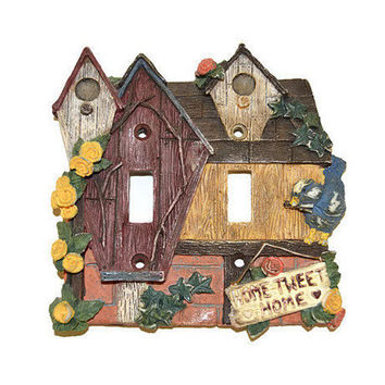 Vintage Light Switch Plate Ceramic Cover Bird House Birds Birdhouse Switchplate