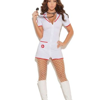 Head Nurse - 2 pc costume includes zip front mini dress and head piece White