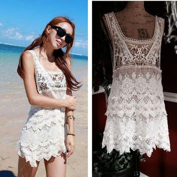 Sexy Lace Crochet Tank Tunic Dress Beach Pool Swim Suit Cover Up swimwear = 1705268292