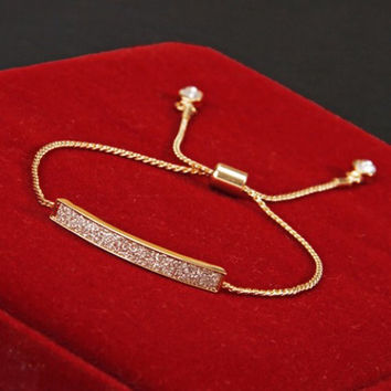 Exquisite Gold Rope Delicate Bracelet with Cubic Zirconia Horizontal Bar and CZ Charms