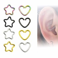 NEW! Heart and Star Ear - Tragus, Helix rings